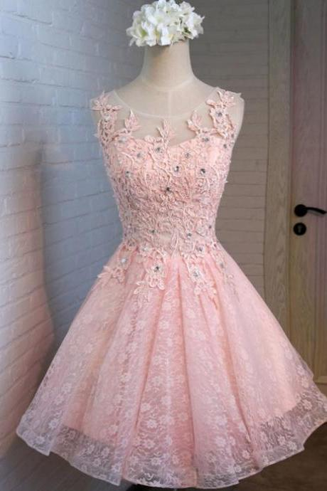 Baby Pink Beading Appique Homecoming Dress,Elegant Strapless Short Prom Dress