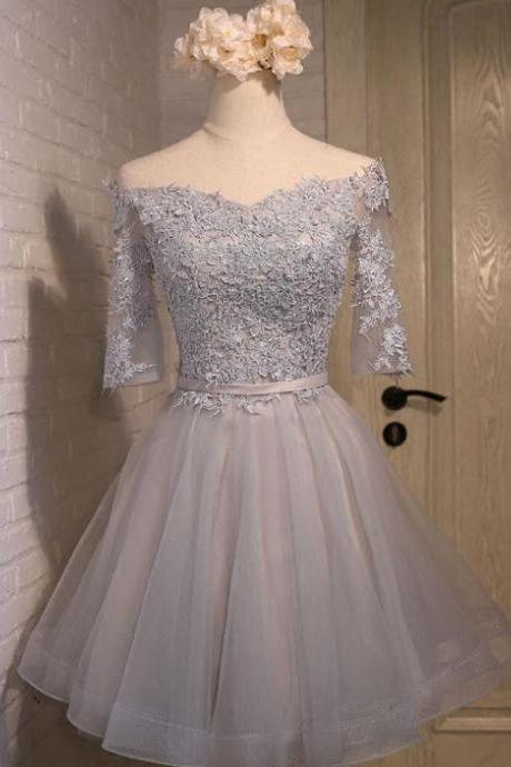 Gray Appique Tulle Homecoming Dress, Off Shoulder Short Prom Dresses