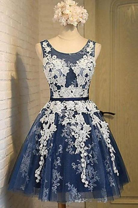 Navy Blue A-Line Homecoming, Round Neck Short Prom Dress with Appliques