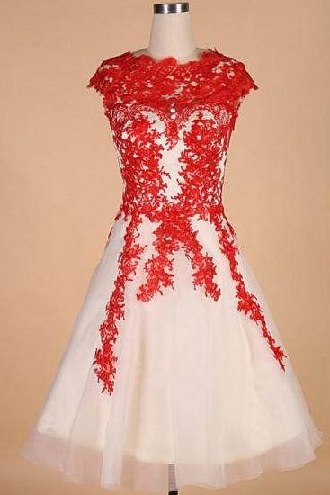 Red Appliques Tulle Homecoming Dress,Hot A-line Short Homecoming Dress