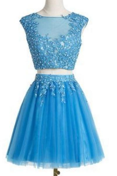 Blue Beading Appliques Homecoming Dress, Two Pieces Light Tulle Homecoming Dress