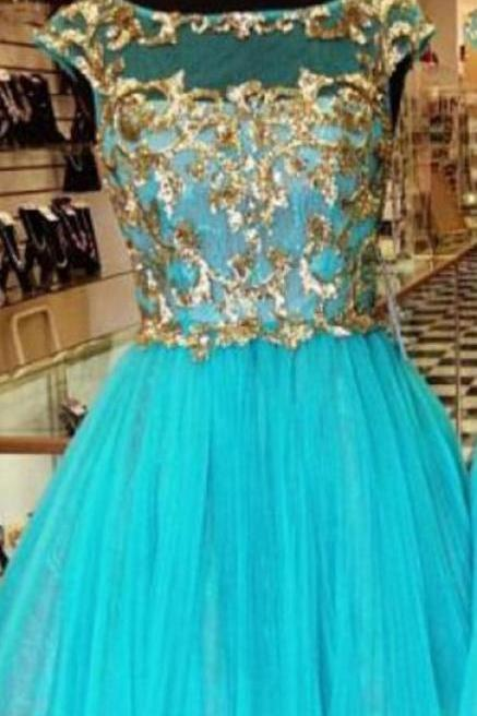 Blue Tulle Gold Appliques Homecoming Dresses,Round Neck Homecoming Dresses