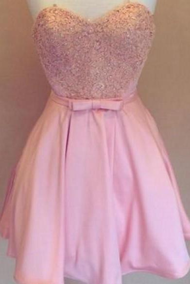 Pink Lovely Satin Homecoming Dresses, bowknot belt Beading Homecoming Dresses
