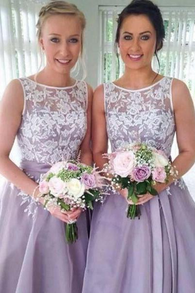 Purple Lace Chiffon Homecoming Dress, A-line Short Bridesmaid Dresses