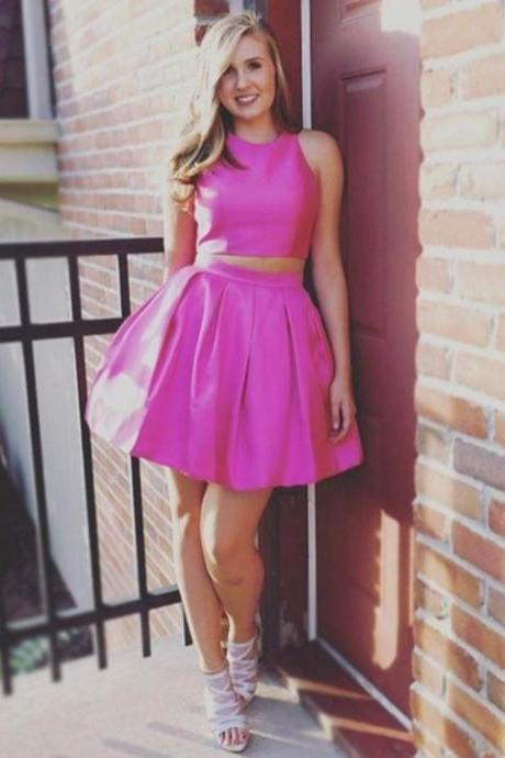 Pink Satin Simple Homecoming Dress,Two Piece Charming Party Dresses