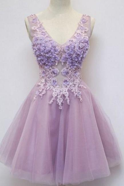 Purple Appliques Homecoming Dress,V-Neck Sleeveless Homecoming Dress
