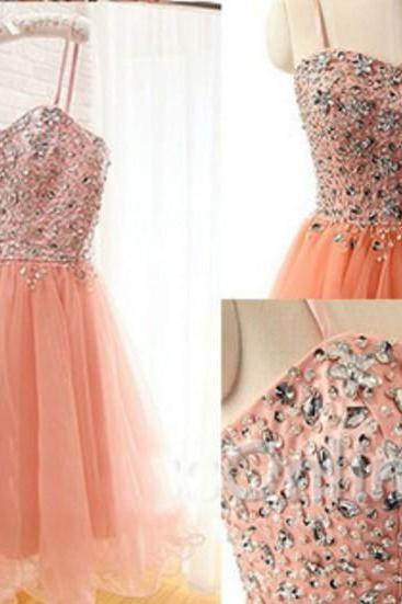 Sweet Orange Tulle Crytal Homecoming Dress, Short Sexy Prom Dress