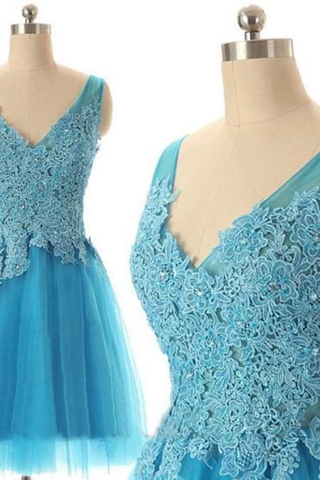Baby Blue Appliques V-neck Homecoming Dress
