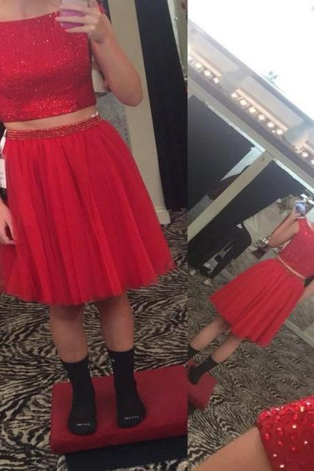 Hot Red Cap Sleeve Sparkly Homecoming Dress, Two Piece Homecoming Dresses