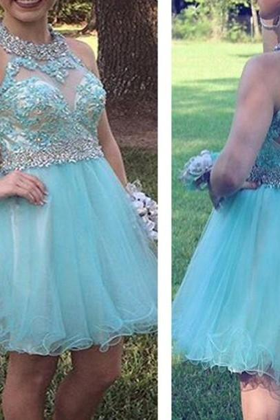 Mint Beadings Homecoming Dresses,Open Back Cute Homecoming Dresses
