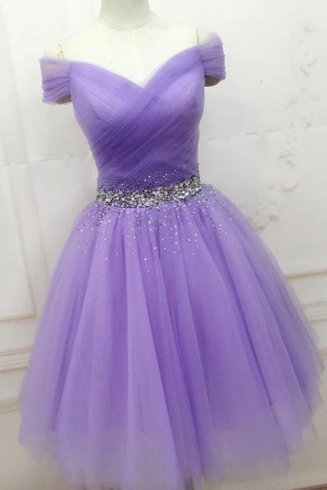 Elegant Purple Tulle Beaded Homecoming Dress,Off Shoulder Short Prom Dresses