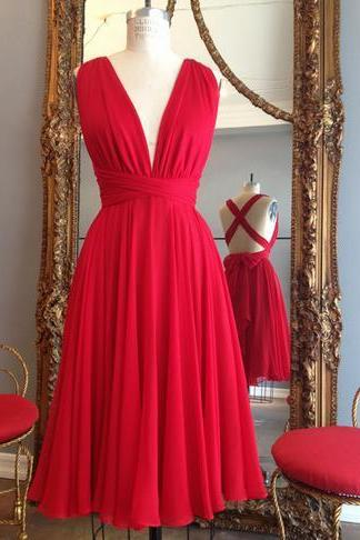Red Chiffon Simple Handmade Homecoming Dresses,Short Backless Cross Homecoming Dresses
