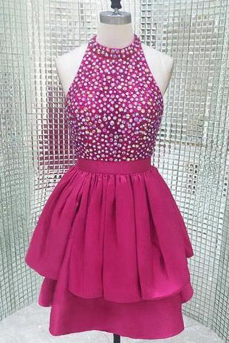 Hot Pink Sparkly Short Open Back Homecoming Dress,High Neck Homecoming Dress