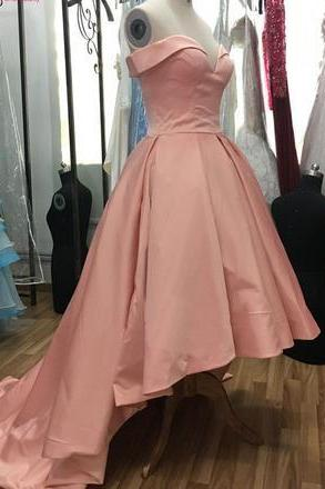 Pink Sweetheart High Low Homecoming Dress, Off Shoulder Party Dress