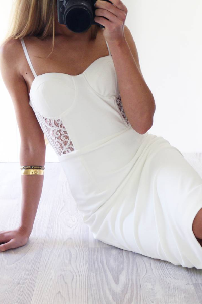 White Sexy Lace Spaghetti-Straps Homecoming dress ,Sheath Knee-Length Homecoming dress