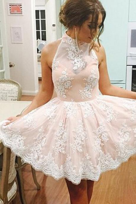 Pink Lace Halter Neck Short Homecoming Dress,Cute Sleeveless Homecoming Dress