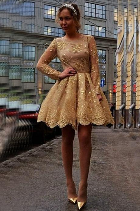 Gorgeous Appliques Short Gold Homecoming Dresses,Long-Sleeves Sheer Homecoming Dresses