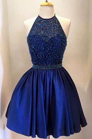 Navy Blue Halter Satin Homecoming Dress With Beads