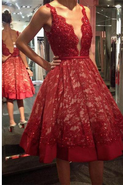 Hot Red Deep V Neck Lace Open Back Homecoming Dress