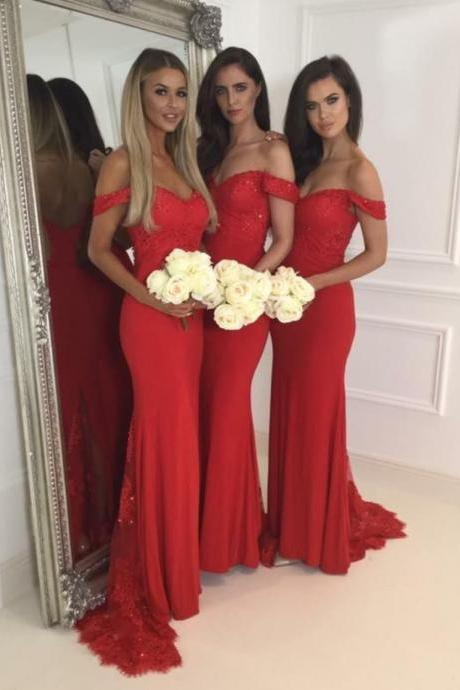 Red Lace Bridemaid Dress, Off the Shoulder Bridemaid Dresses