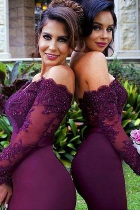 Burgundy Lace Beading Sexy Mermaid Bridesmaid Dresses