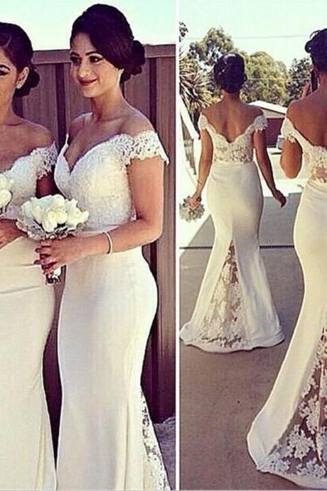 Lace Long Bridesmaid Dress, Wedding Guest Prom Gowns
