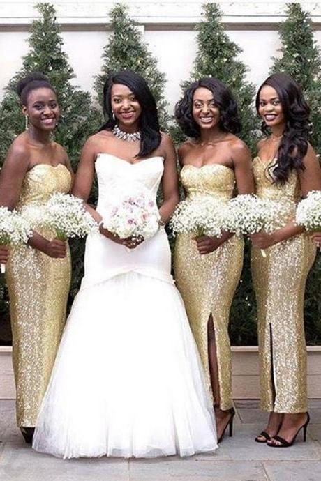Sweetheart Gold Sequins Bridesmaid Dresses for Wedding