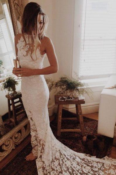 Halter Lace Bodice Wedding Bridal Dress, Elegant Wedding Dress