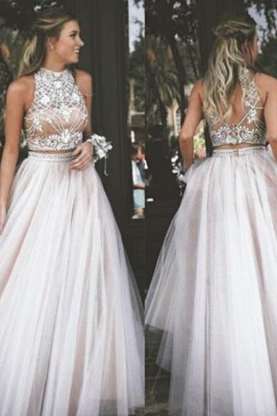 High Neck Tulle 2 Piece Prom Dress Beading Pageant Dress 2K18