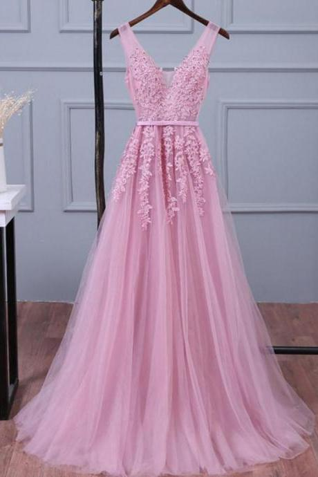 Baby Pink V-neck Lace Prom Dresses, Tulle Appliques Pageant Dress