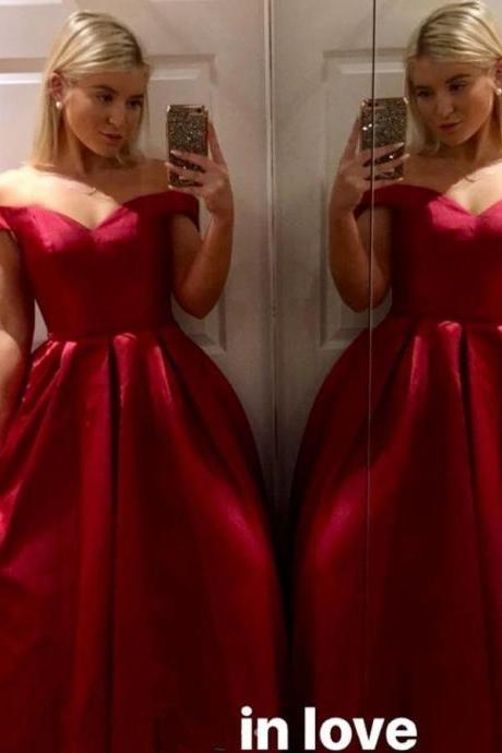 Off Shoulder Sweetheart Pageant Dresses Red Prom Dress