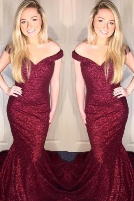 Off Shoulder Burgundy Red Prom Dress, Elegant Mermaid Pageant Dress