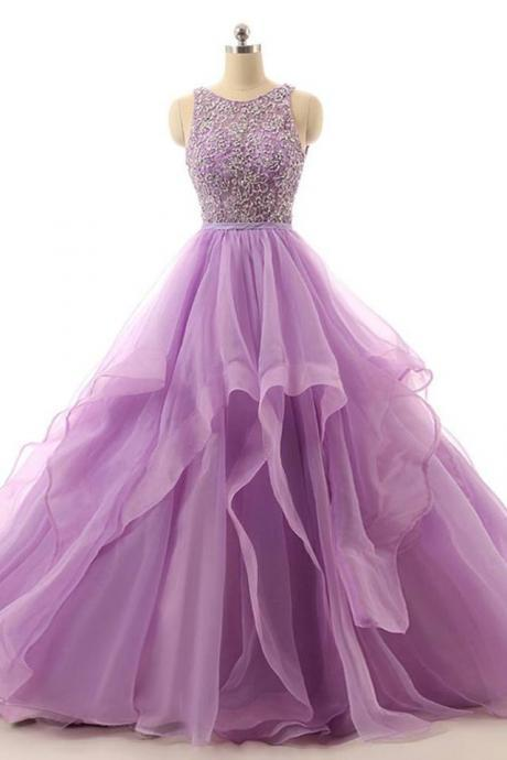 2K18 Purple Prom Dresses, Tulle Purple Pageant Gown Dress