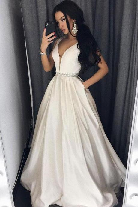 A Line Ivory Satin Prom Dress, V Neck Court Train Pageant Dress