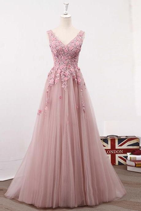 Pink V Neckline Lace Applique Prom Dress, Two Straps Pageant Dress