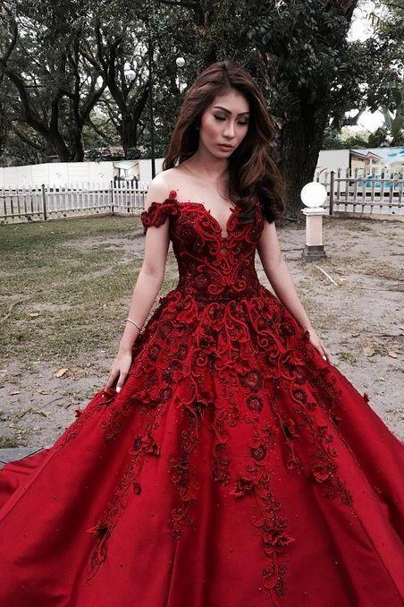 Off Shoulder Red Applique Pageant Dress, Sweetheart Prom Dress