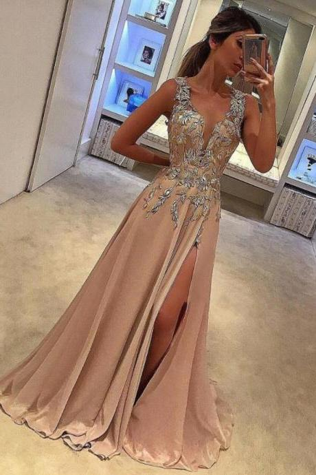 Tank Straps Pageant Dress, Slit Applique Prom Gown Dress