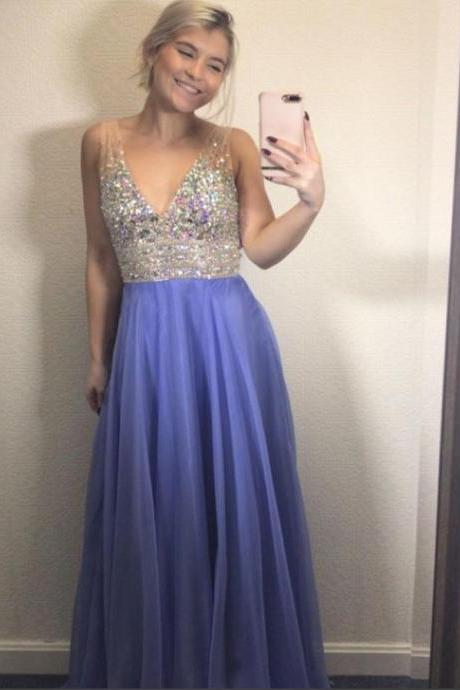 Cute Lavender Prom Dress Crystal Pageant Dress