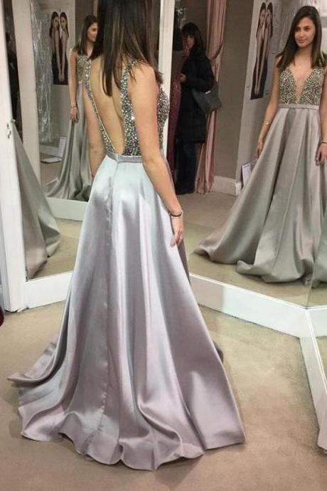Silver Deep V-neck Prom Dresses Beading Pageant Dress with Open Back