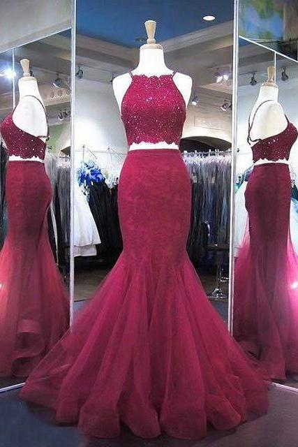 Lace Beading Burgundy Prom Dresses Two Pieces Pageant Dress