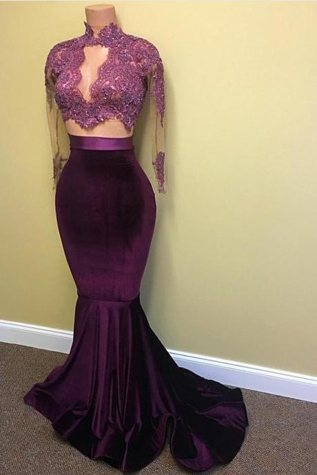 Purple Velvet Prom Dress Two Piece Lace Pageant Dresses
