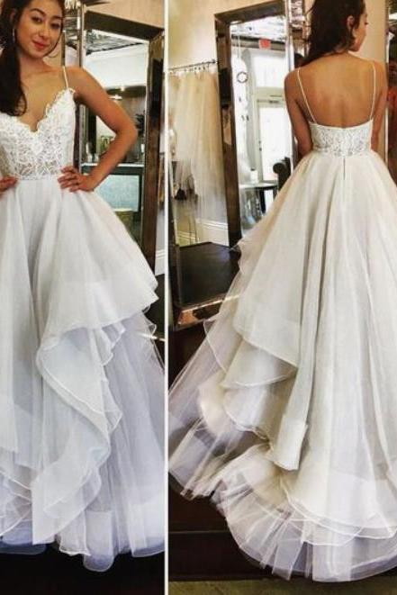 Ivory Tulle Prom Dresses Lace Top Pageant Dress