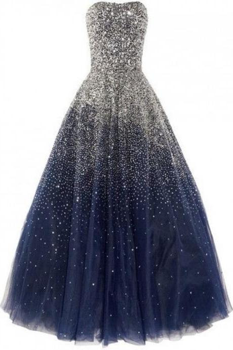 Strapless Navy Blue Prom Dress Sequins Pageant Dress