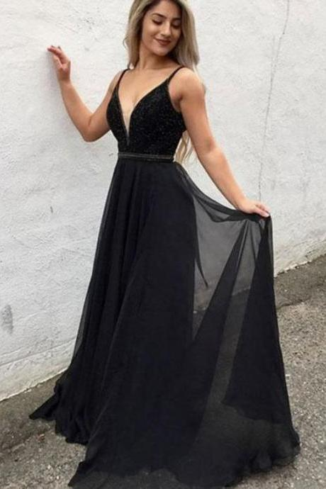 V-Neck Beaded Prom Dress Black Pageant Gown