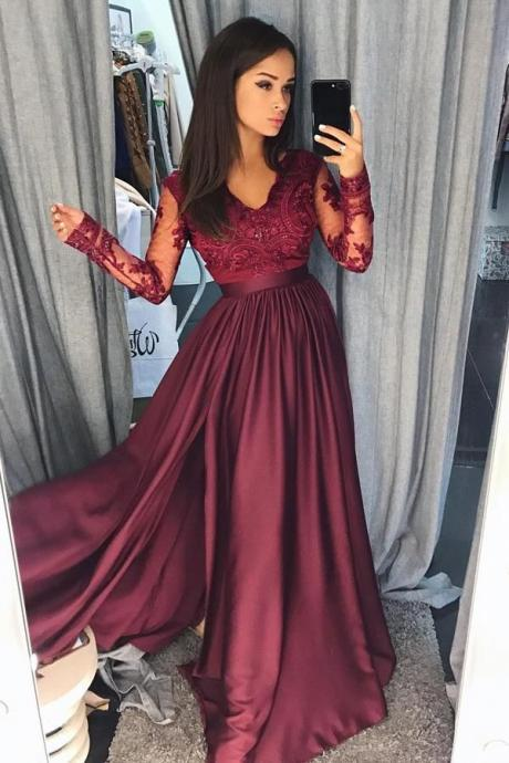 Long Sleeves A Line Prom Dresses Burgundy Lace Pageant Dress