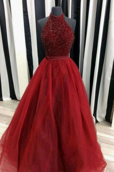 Burgundy Beading Prom Dress Halter Tulle Pageant Dress