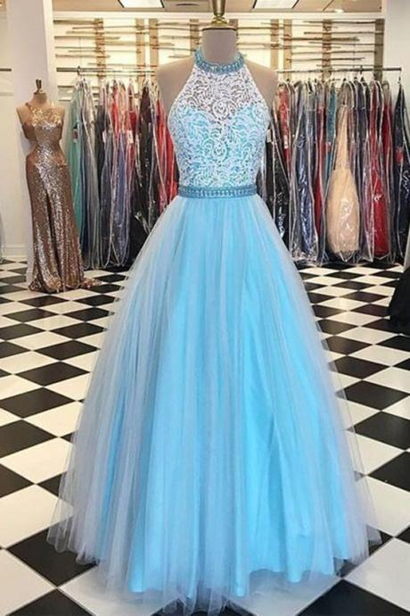 High Neck Lace Beading Prom Dress Sky Blue Pageant Dress