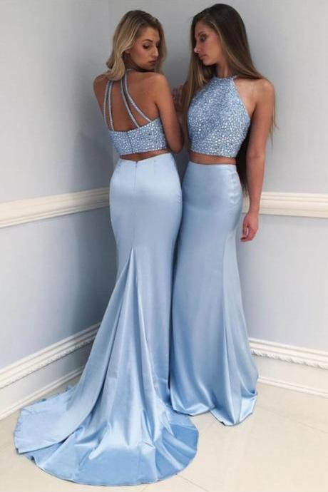 Baby Blue Beading Prom Dresses Two Piece Mermaid Pageant Dresses