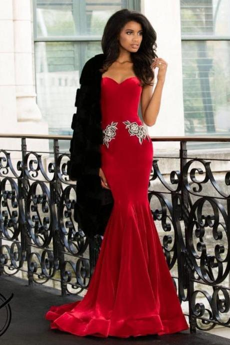 Sweetheart Red Mermaid Prom Dresses Velvet Applique Pageant Dress