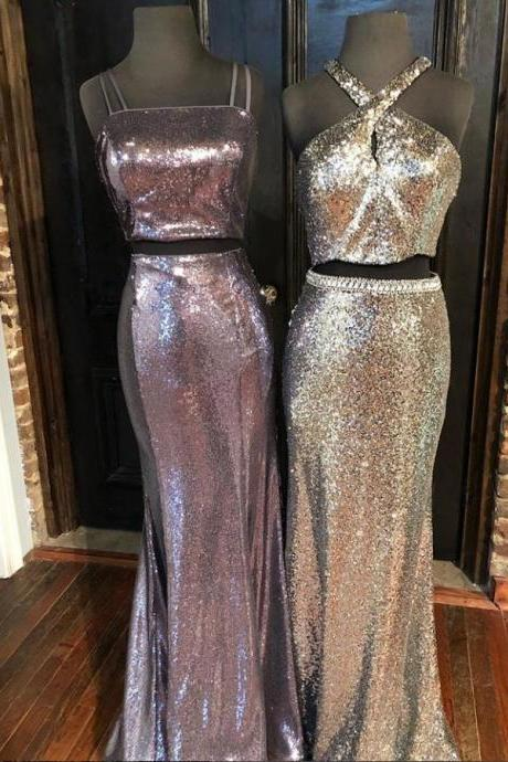 Two Piece Long Prom Dress Sequined Pageant Dress